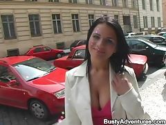 Very Sexy and Big Breasted Brunette Sucking and Riding