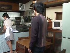 Asian Housewife Sumika Nanjitori Giving a Blowjob in the Kitchen