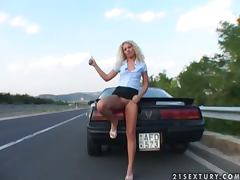 Horny hitchhiking blonde gets fucked hard by two guys