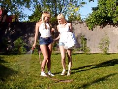 Beatrice and Bianka make out and lick each other's vags in the garden