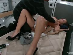 Pretty Jada Stevens gets fucked by three guys in a shop