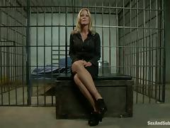 Blonde office chick gets fucked by an inmate in prison