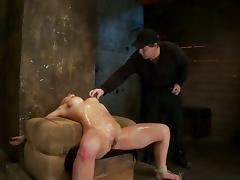 OIled up BDSM glory with a juicy blond chick Isis Love