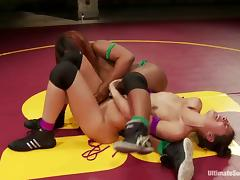 Two kinky girls have interracial lesbian sex in a ring