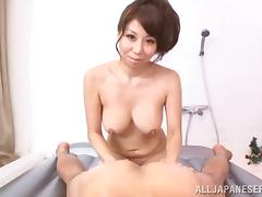 Japanese milf gives a rimjob to her man before riding his dick