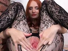 Gyno vibrator in her huge redhead vagina