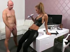 Female agent licks whipped cream from a huge cock