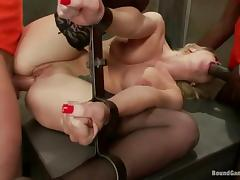 Insane gangbang in the prison with a smoking hot blondie!
