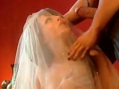 Hideous girl connected with a wedding raiment gets fucked coupled with fingered