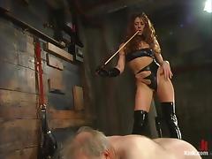 Beautiful mistress is dominating abandon that grandpa
