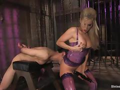 Ashley Fires toys Jason Miller in his ass in a dungeon