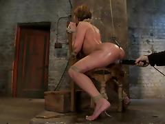 Gorgeous Amy Brooke blows a dick and gets toyed in BDSM vid