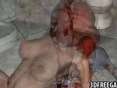 3D redhead rides zombie cock
