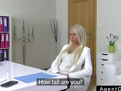 Nice ass blonde fucks on the casting couch