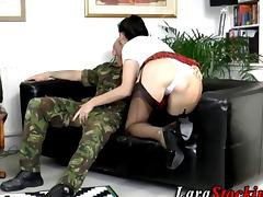 Soldier has a long hard dick for a slut