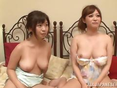 Hardcore foursome banging with two lustful Japanese milfs