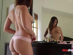 Elegant tattooed cowgirl with shaved pussy getting banged hardcore missionary in reality shoot