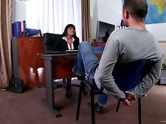 Naturally busty Jasmine Black gets fucked in an office