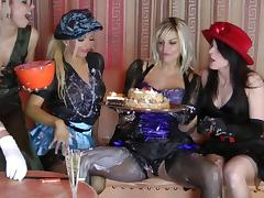 Elegant lesbian with nice ass in stocking getting messy using food in the party
